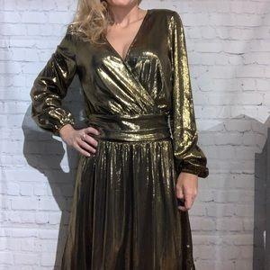 Michael Kors Gold Faux-Wrap Dress NWOT Size Small